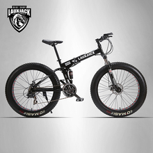 "LAUXJACK Mining two-ply bicycle steel folding frame 24 speed Shimano mechanical disc wheel disc brakes 26 ""x4.0 Fat Bike"