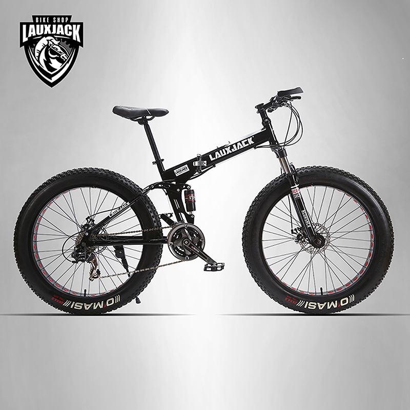 LAUXJACK Mining two ply bicycle steel folding frame 24 speed Shimano mechanical disc wheel disc brakes 26 x4.0 Fat Bike