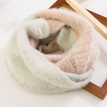 Thick Warm Ring Scarves Female Two-color Patchwork Scarf Collar Soft Womens Winter Knitted LIC Mohair Shawl Stole Student