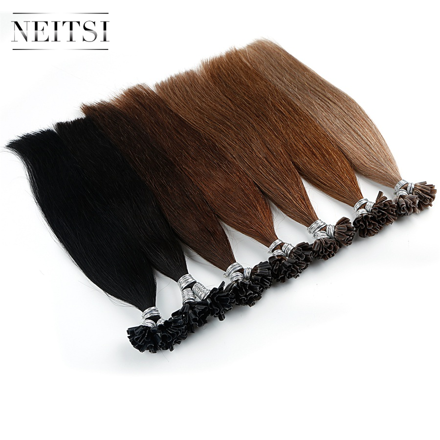 Neitsi Machine Made Remy Straight Human Fusion Hair Nail U Tip Pre Bonded Hair Extension 16