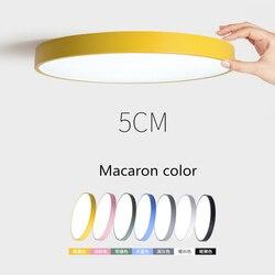 Креативный ультра-тонкий 5 см macaron светодиодный потолочный светильник современный круглый потолочный с дистанционным управлением лампа дл...