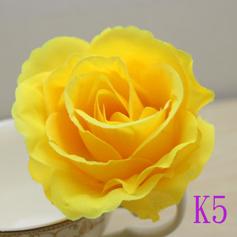 50pcslot 9cm New Big Yellow Artificial Rose Silk Flower Heads For