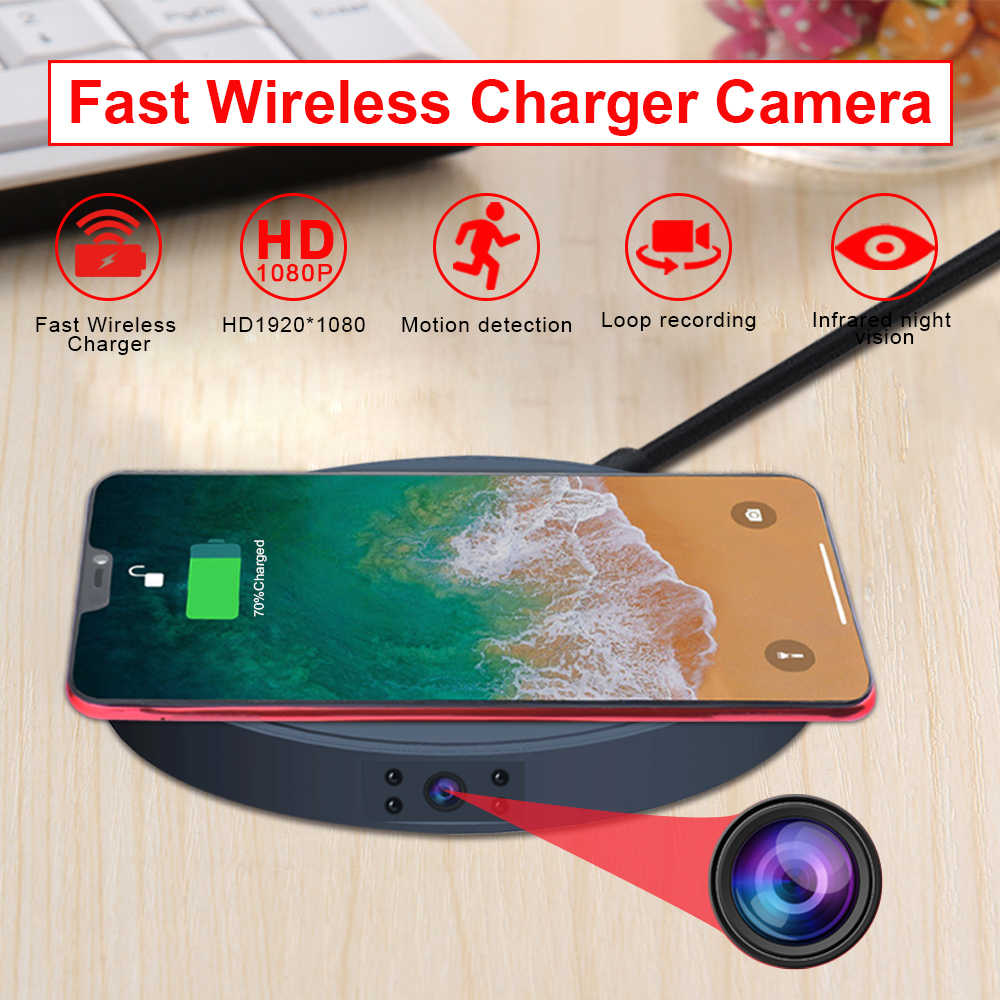 Mini Camera HD 1080P Sensor Night Vision Camcorder Motion DVR Micro Camera Wireless charger Video small Camera hidden TF card