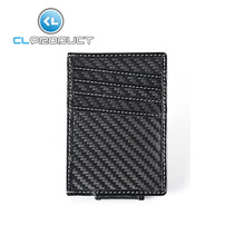 100% Real Carbon Fiber&Leather Credit Card Holder clip Wallet with White
