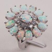 White Fire Opal Australia 925 Sterling Silver Woman Jewelry Ring Size 6 7 8 9 10
