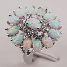 Blanco del ópalo de fuego Australia 925 mujer de plata anillo de la joyería tamaño 6 7 8 9 10 11 F577