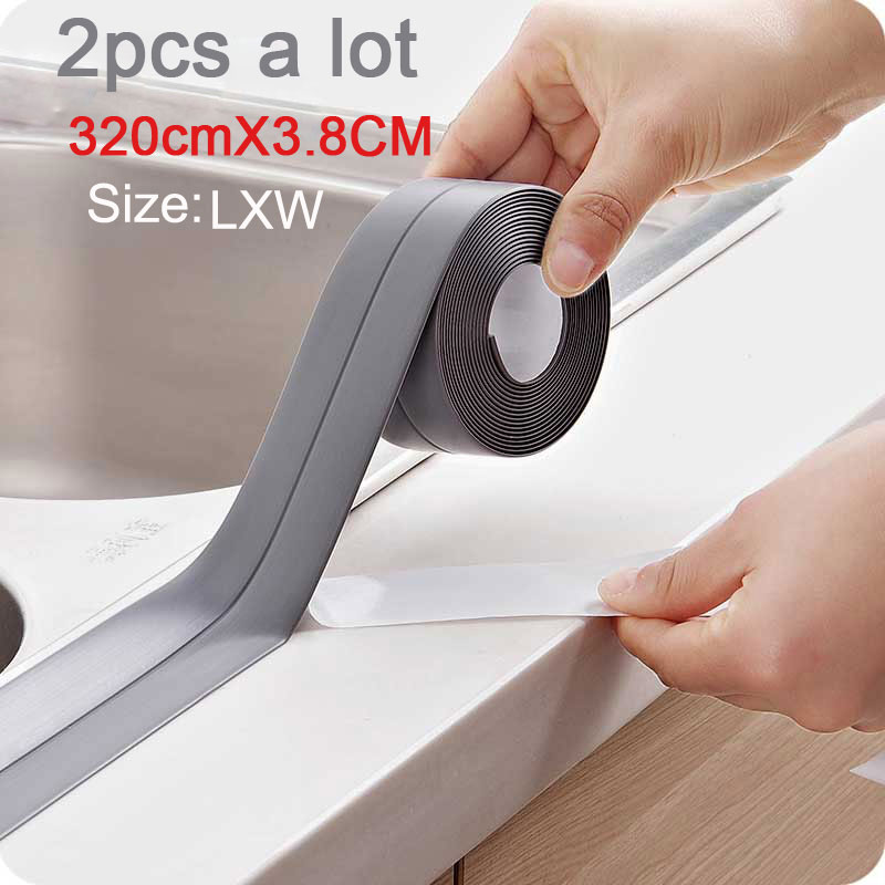 2pcs/vanzlife Kitchen Waterproof And Mildew Seam Self-adhesive Stickers Tape Decoration Wedding Rubber Strip Floor Wall Sticker Utmost In Convenience Home Decor Wall Stickers