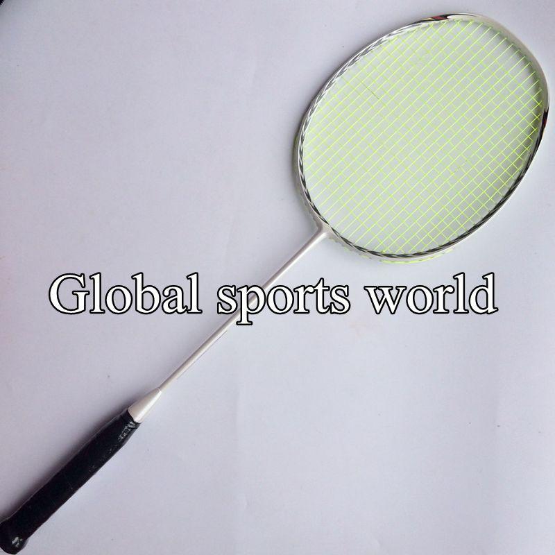 Free shipping New 2015 3D blade (4U 82g)Badminton Racket 100% carbon badminton racquet (White)