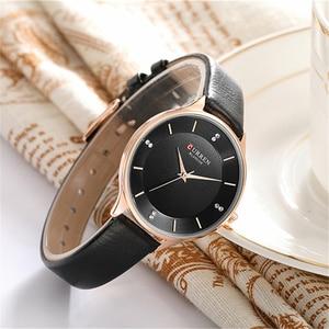 Image 3 - CURREN Brand Watch Women Fashion Leather Quatz Wristwatch For Womens Girls Diamond Dial 30M Waterproof Female Clock bayan saat