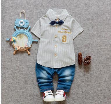 2016 Fashion Boy Ropa de Los Niños Traje 2 UNIDS Chicos Caballero Plaid Shirt + Jeans Pantalones Tie Ropa de Bebé verano