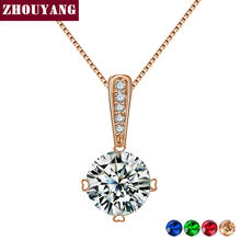 Top Quality Classic Simplicity Zircon Rose Gold Color Fashion Pendant Neclace N426 N427(China)