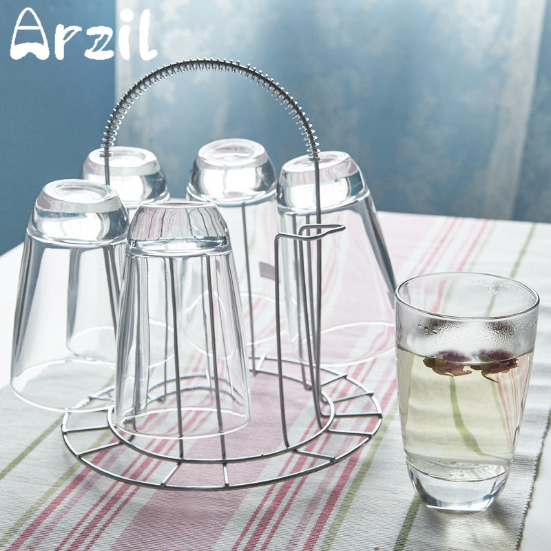 Mug Shelf Kitchen: Stainless Steel 6 Cups Mug Glass Stand Holder Home Kitchen