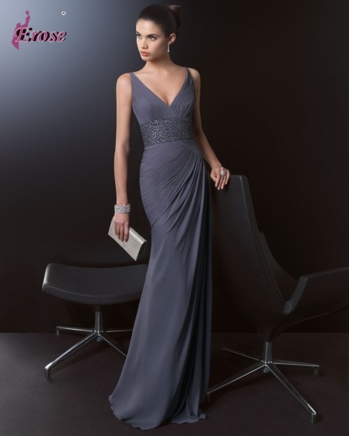 Elegant Women V Neck Beaded Waistline Long Dark Grey Chiffon Couture