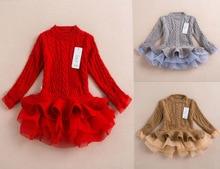 16dd73f4d124d 2017 yeni kızlar giyen noel düğün elbise örgü Şifon kız örme kazak Kazak  Kazak dokuma kız kış giyim kumaş