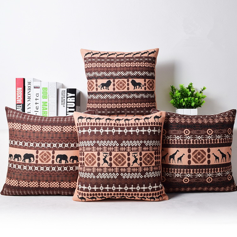 bohemian style cushion cover set passionate elephant floral printed african style throw cushion. Black Bedroom Furniture Sets. Home Design Ideas