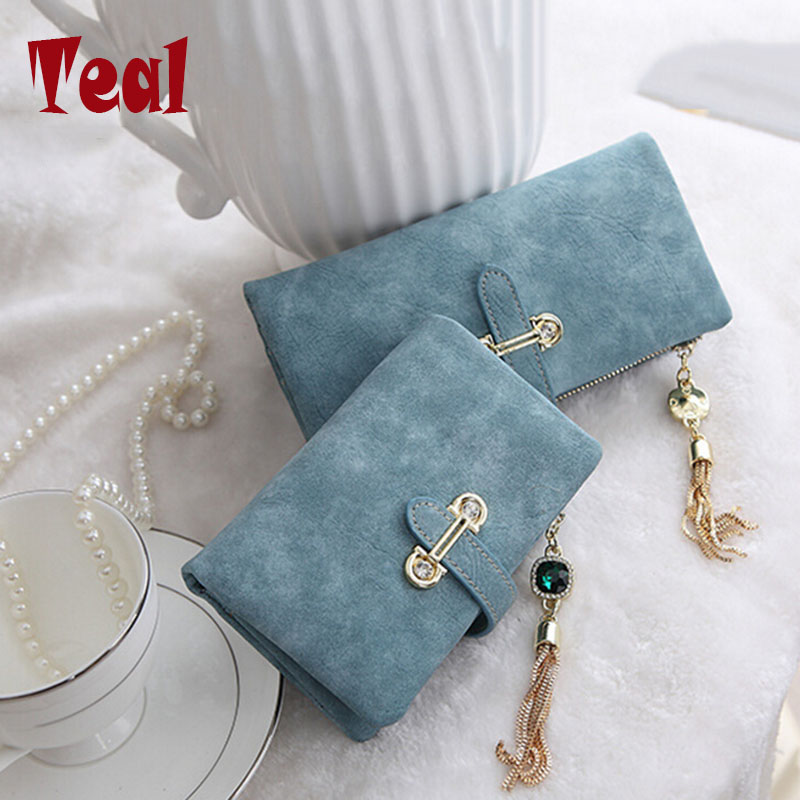 Wallet women card holder female wallet women luxury brand organizador women's purse clip Vintage Matte Hasp Suede pendant wallet