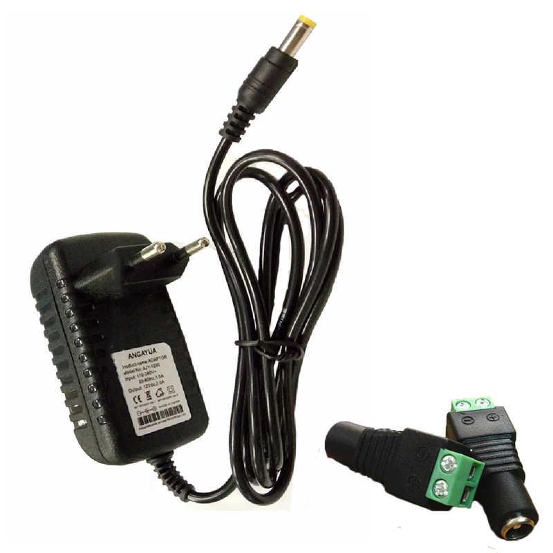 Штепсельная Вилка стандарта ЕС и США, переменный ток 100-240 В в постоянный ток, 12 В, 2 А, трансформаторы, адаптер питания, конвертер, зарядное устройство для светодиодной ленты, светильник