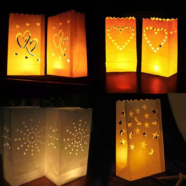 20 Pieces 4 Designs LED Light Holder Luminaria White Paper