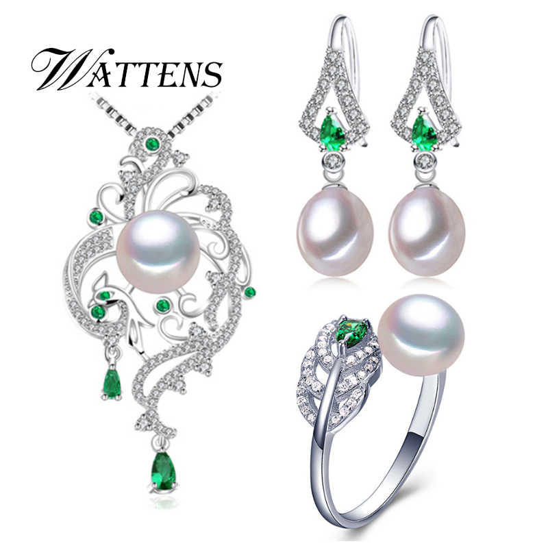 ไข่มุกธรรมชาติชุดสร้อยคอต่างหูแหวนเงิน 925 Phoenix สีเขียว zircon ชุดเครื่องประดับงานแต่งงานของขวัญ