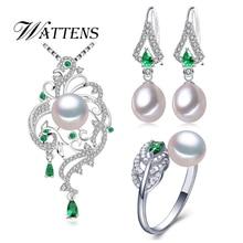 Conjunto de pérolas naturais colar brincos anel feminino 925 prata esterlina phoenix verde zircon conjuntos de jóias festa de casamento presente