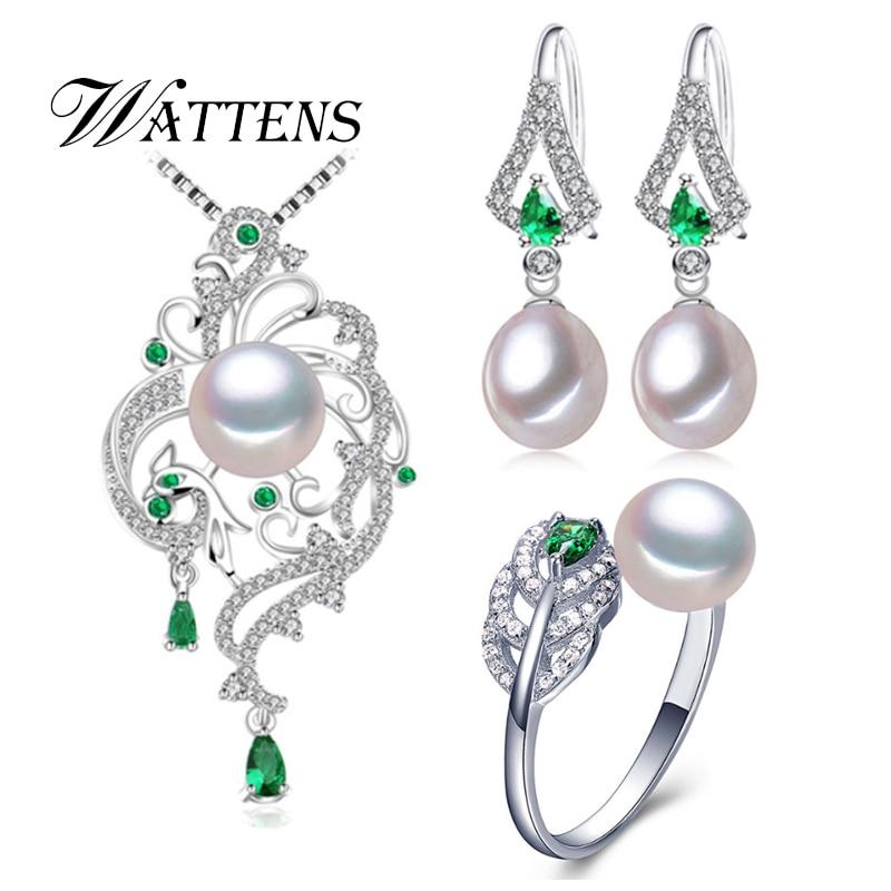 Ensemble de Perles naturelles collier de perles boucles d'oreilles anneau femmes 925 sterling argent Phoenix Vert zircon ensembles de bijoux de mariage parti Cadeau