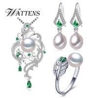 Natürliche Perle set perle halskette ohrringe ring frauen 925 sterling silber Phoenix Grün zirkon schmuck sets hochzeit party Geschenk