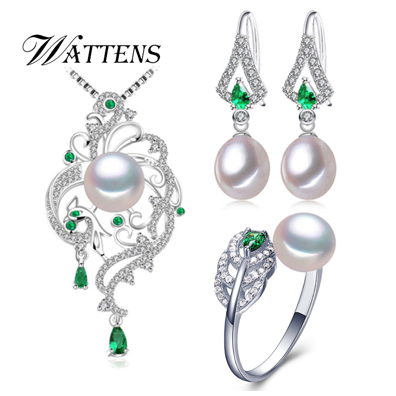 Natural Pearl Set Pearl Necklace Earrings Ring Women 925 Sterling