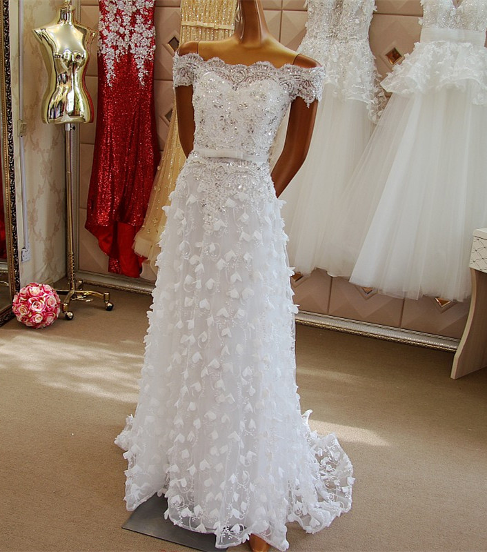 Custom Made Abendkleider Crystal 2017 New Design A-line Short Sleeve Flowers Beading Arabic Style   Evening     Dresses   Long ES11