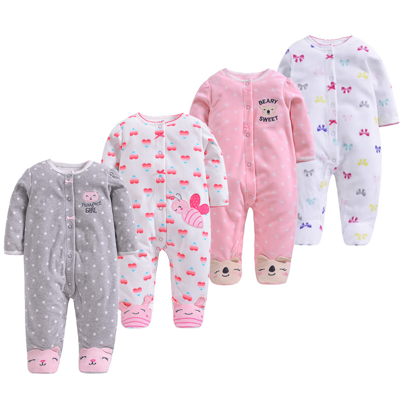 Fleece Baby Jumpsuit Long-Sleeves Baby-Girls-Boys Winter New