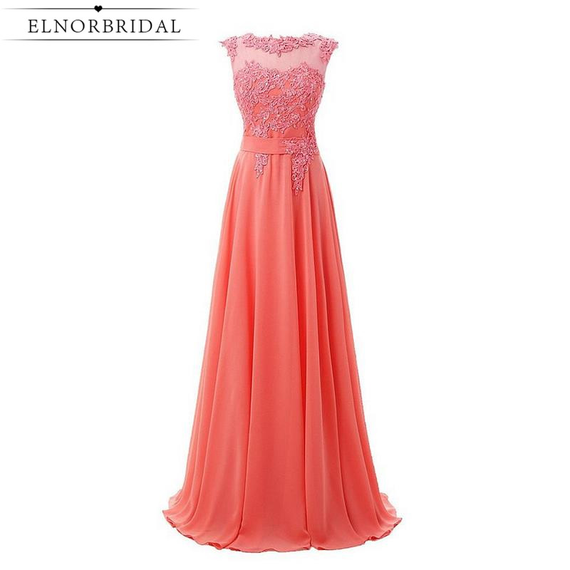 Cheap Coral Prom Dresses Long 2017 Robe De Bal Sheer Lace Embroidery