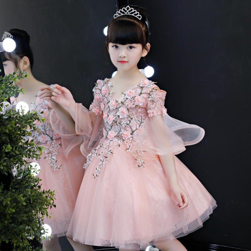 Pink Champagne Flower Girl Dresses for Wedding V-neck Floral Kids Pageant Dress Birthday Costume Ball Gown Girls Formal Dress
