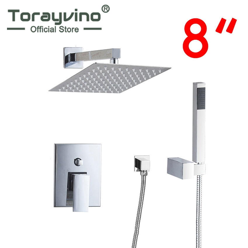 Torayvino RU Bathroom Shower Set 8 Square Top Shower Head Wall Mounted Rainfall Shower Faucet And Square Hand Shower Spout Set