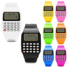 Модные детские силиконовые Дата многоцелевой электронный калькулятор наручные часы Прямая-ПК друг
