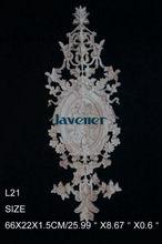 L21-66x22x1.5 см Деревянные Резные Долго Накладка Аппликация Неокрашенный Каркас Двери Наклейка Работы плотник Цветок