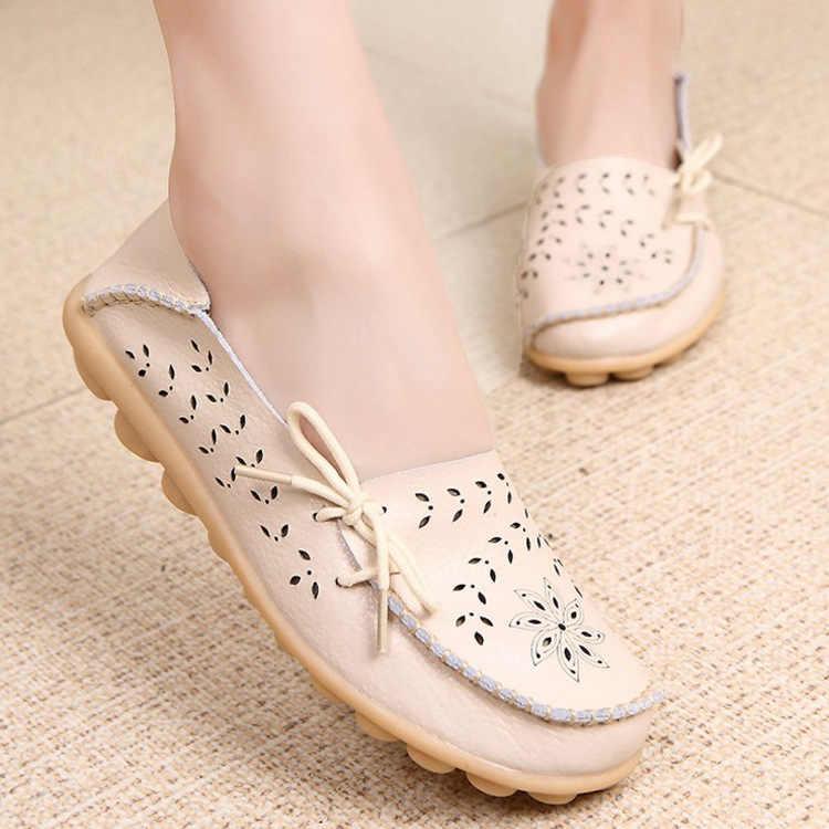 Nieuwe Aankomst Vrouwen Schoenen Echt Leer Vrouwen Flats Oxford Vrouwen Flats Vrouwen Casual Vrouwelijke Loafers Dames Schoenen Plus Size 43 44