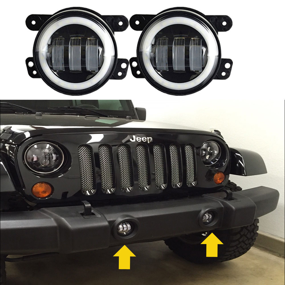 Feux de brouillard Auto LED feux de croisement ronds de 4 pouces avec anneau de Halo blanc pour feu de brouillard Jeep Wrangler JK TJ LJ