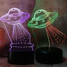 Amroe Gift Cartoon UFO Alien Spacecraft Acrylic 3D RGB Night Lights USB LED Sleep Table Lamp Remote Home Decor Christmas Gift