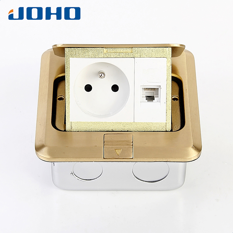 Brass Slow Pop Up Floor Socket Outlet Box with 16A French socket and RJ45 data brass slow pop up floor socket box with 15a 125v us socket rj45 computer data