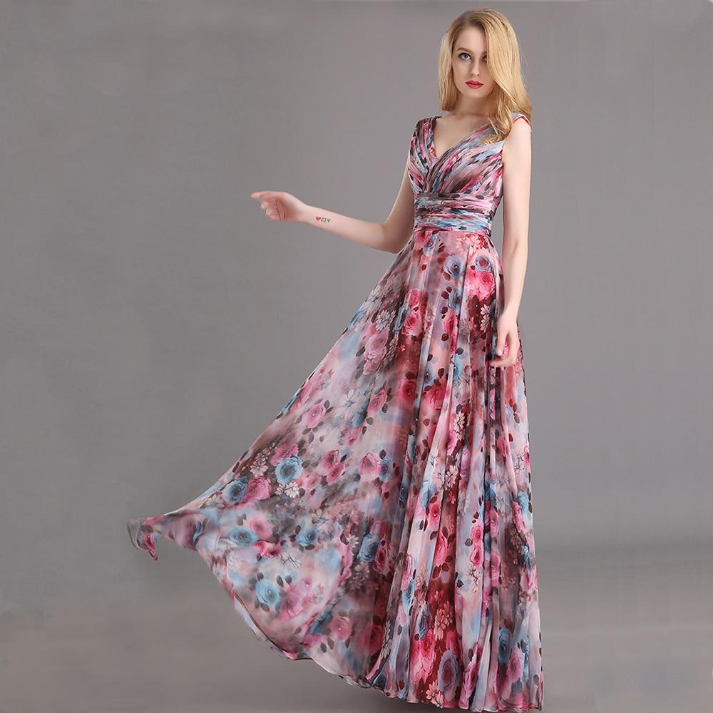 b4237df5868ad Vestito Da Sera Chiffon Modello di Fiore Stampa Floreale Del Partito di  Promenade vestiti Lunghi Da Sera 2018 in Vestito Da Sera Chiffon Modello di  Fiore ...