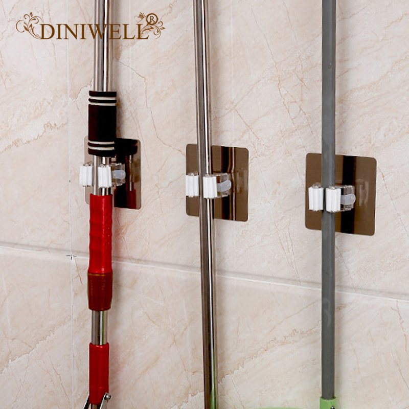 DINIWELL 1PCS PVC 벽 마운트 걸레와 빗자루 홀더 선반 컵 스토리지 후크 가든 도구 주최자 재사용 가능한