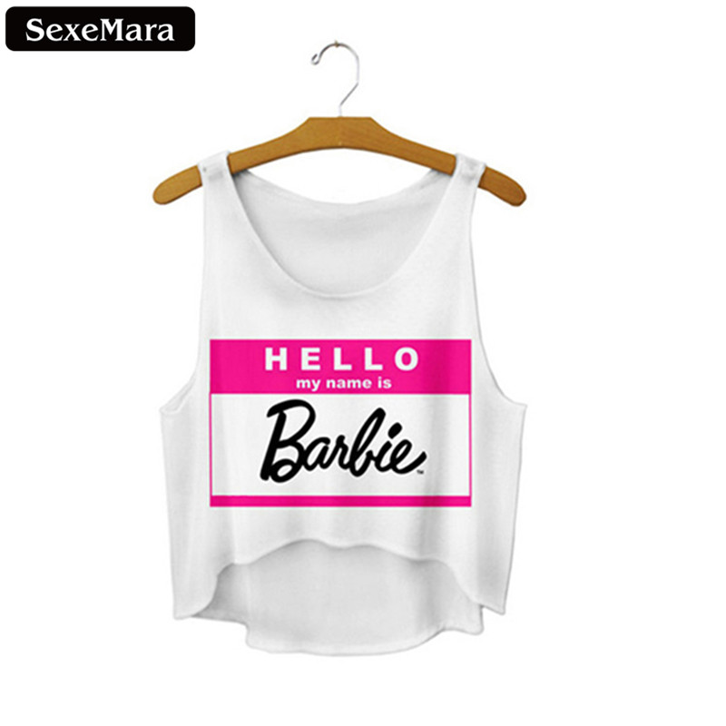 SexeMara Hello My Name Is Barbie Harajuku Letter Crop Tops Loose Vest Sexy Fitness Personality Short Tank Top Slim Vest F670
