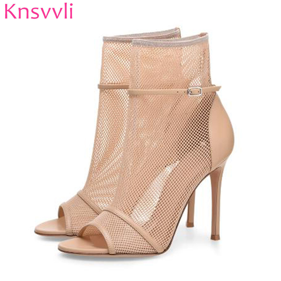 Sexy Lace Elastic Network Woman High Heel Sandals Genuine Leather Peep Toe Ankle Boots For Women Stiletto Gladiator Sandal Boots light khaki boots for women rivet peep toe platform boots studded suede women stiletto heel open toe sandal boot womens leather