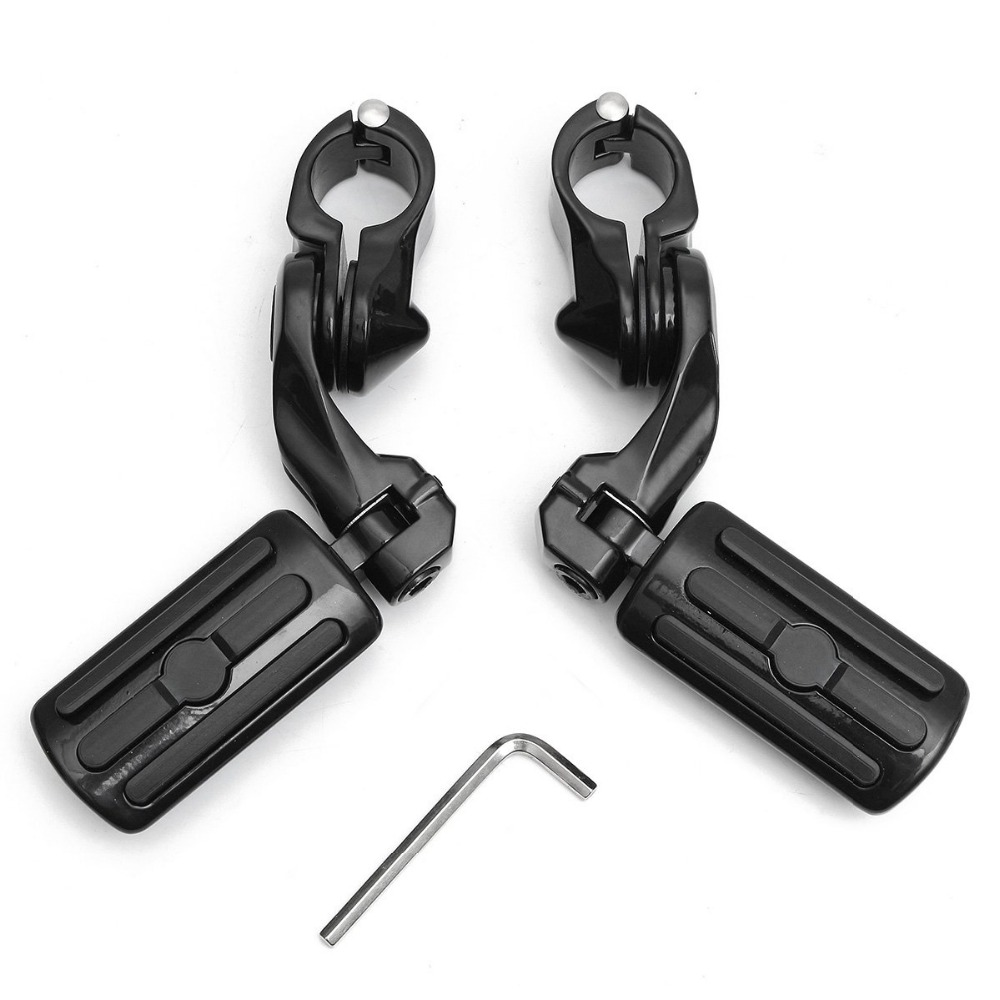 1 Pair Black 1 25 3 2cm Adjustable Motorcycle Foot Pegs Pedals Rear Short Type For