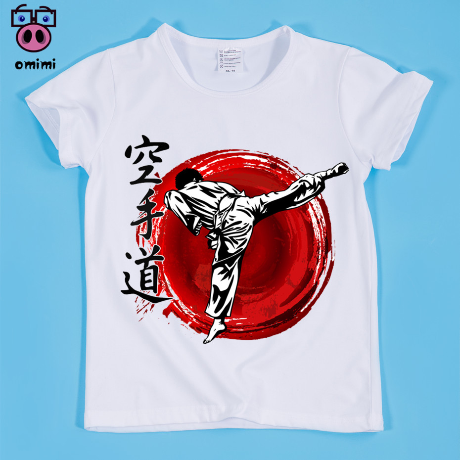 Ready Stock,Size(90-160cm) Children's Kyokushin Karate Kanji and Symbol Design Print T-shirt 2018 Summer Boy and Girl Tee Shirt peach print tee