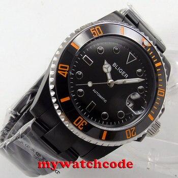 40mm Bliger black dial black PVD case orange ceramic bezel sapphire crystal automatic mens watch