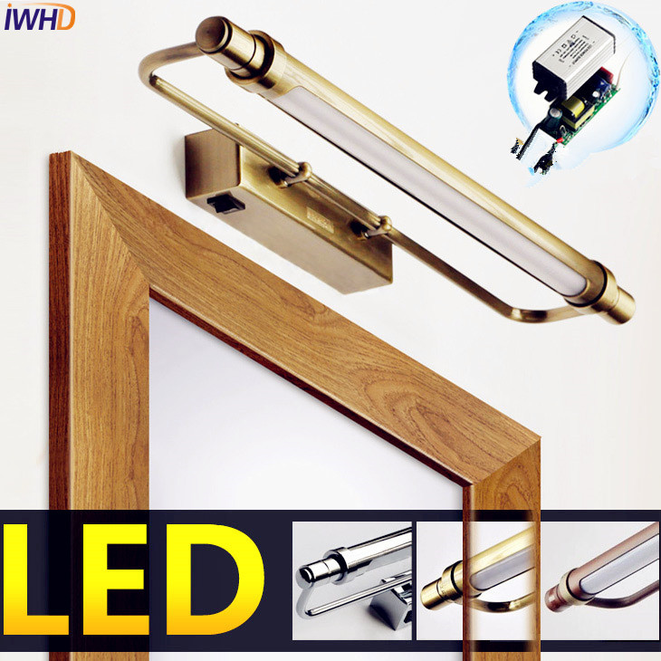 IWHD Europe LED Bathroom Mirror Light Fixtures Waterproof LED Vintage Wall Lamp Bathroom Lighting Arandela Sconce