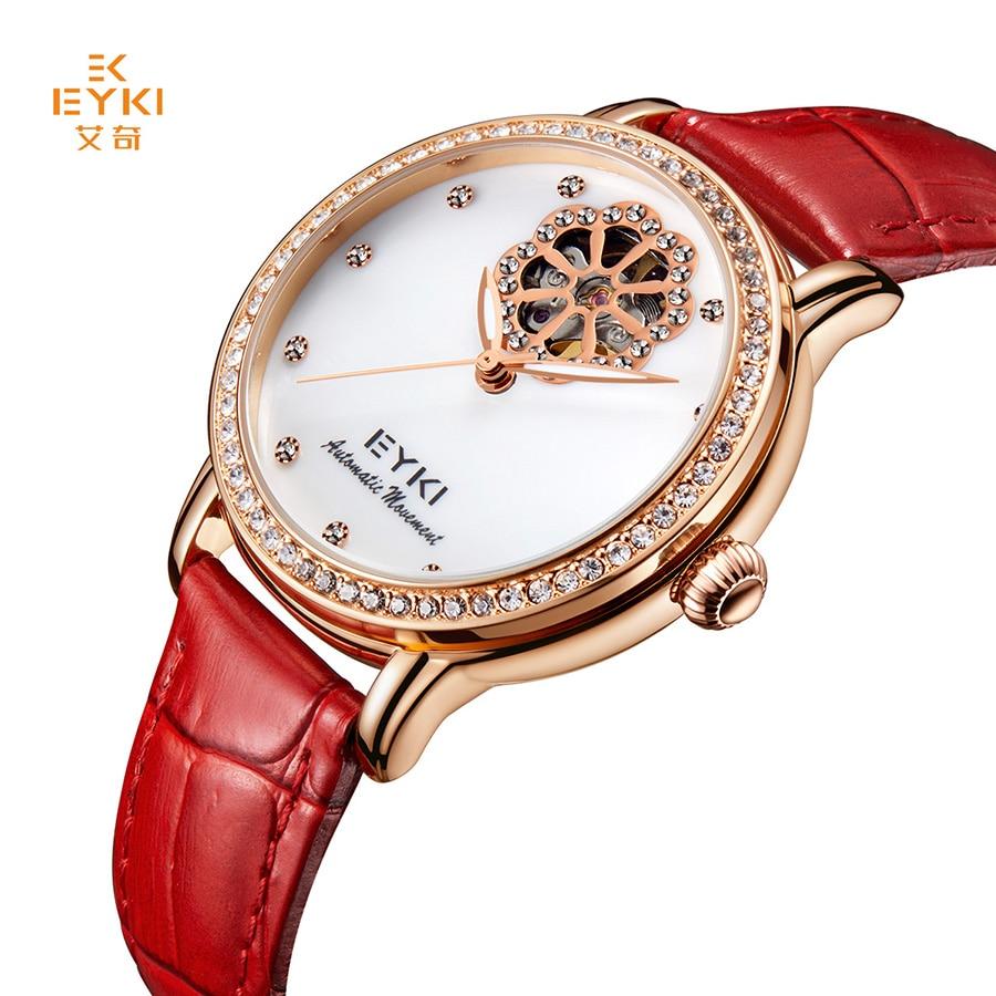 купить EYKI Brand Women Mechanical Watches Diamond Ladies Tourbillon Automatic Watch Genuine Leather Self Winding Skeleton Montre Femme по цене 3922.78 рублей