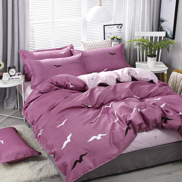 A27 4pcs/set Purple Seagull Printing High Quality Bedding Set Bed Linings Duvet Cover Bed Sheet Pillowcases Cover Set