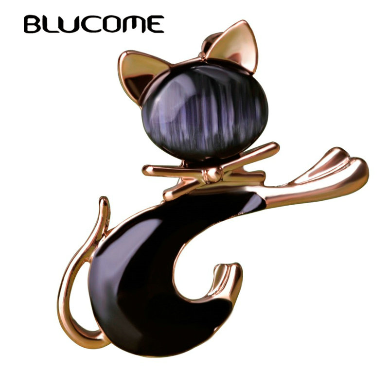 Blucome Cute Black Tie Cat Brooch Smooth Artificial Opals Corsage For Women Collar Hats White Enamel Brooches Pins Girls Gifts