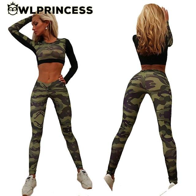 Owlprincess Estampado de Camuflaje traje de Yoga Para Mujeres 2 Unidades  Sexy Completo Top Y Pantalones 77ce4ca5c53